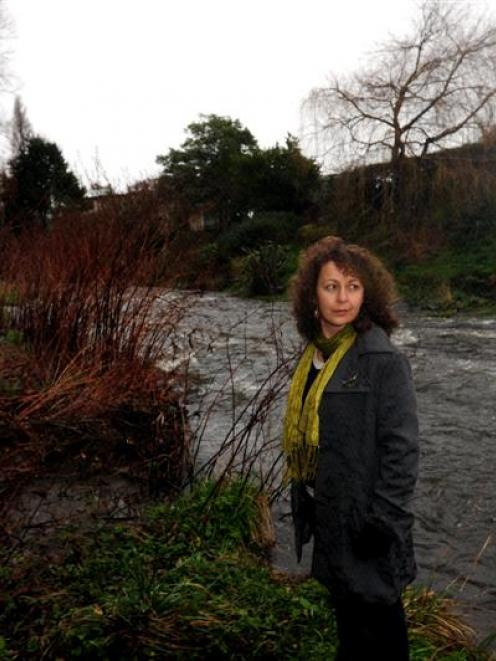 Crime writer Vanda Symon beside the Leith, where she has set a murder scene in her latest novel....