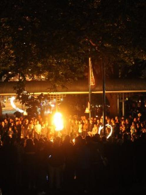 Crowds gather for Earth Hour celebrations in Dunedin's Octagon last year. Photo by Peter McIntosh.
