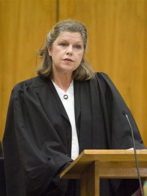 Crown prosecutor Marie Grills addresses the Weatherston trial in the High Court at Christchurch...