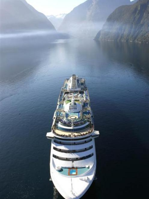 Cruise ship Sun Princess visiting  Milford Sound in 2008. Photo supplied.