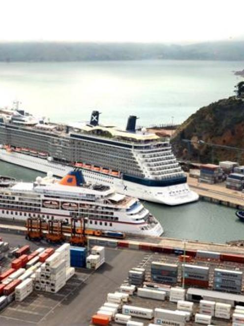 Cruise ships Europa (front) and Celebrity Solstice at Port Chalmers last December. Photo by Peter...