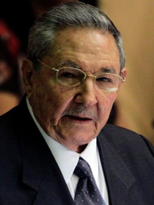 Cuba's President Raul Castro makes the final speech at the closing session of the National...