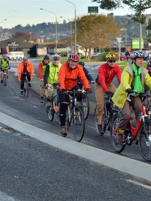 Cyclists use the new cycleway in Portobello Rd between Andersons Bay Rd and Portsmouth Dr. Photo...