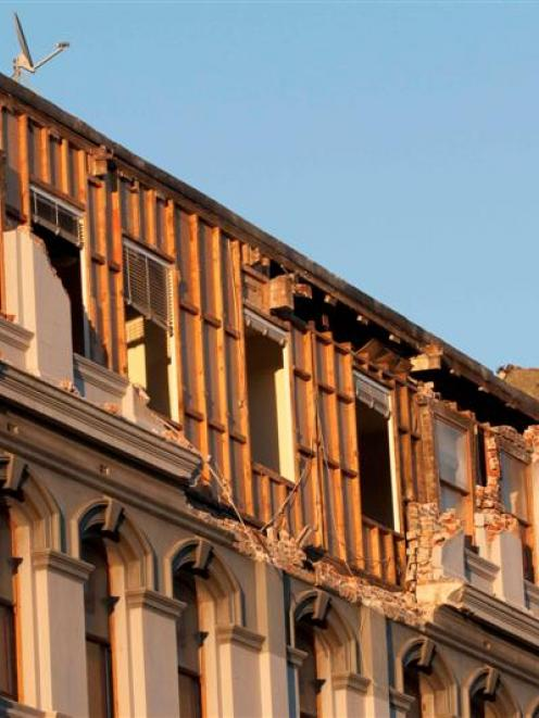 Damage from the earthquake can been seen in Lichfield Street, central Christchurch. Credit:NZPA /...