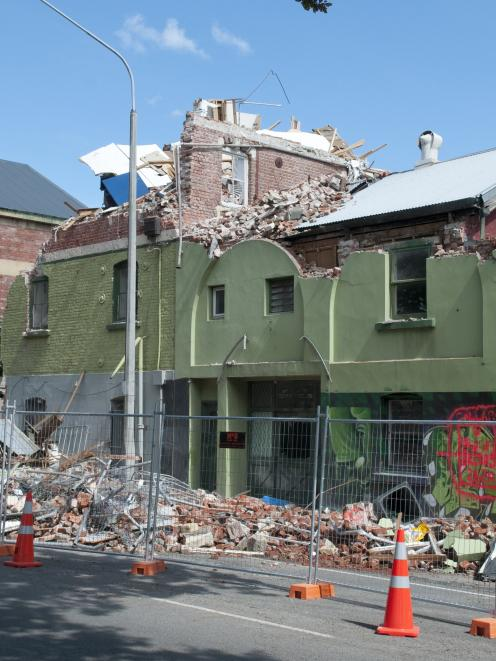 Damage shown to the Old Wards Brewery, Fitzgerald Ave, Christchurch. Photo: NZPA / David Alexander