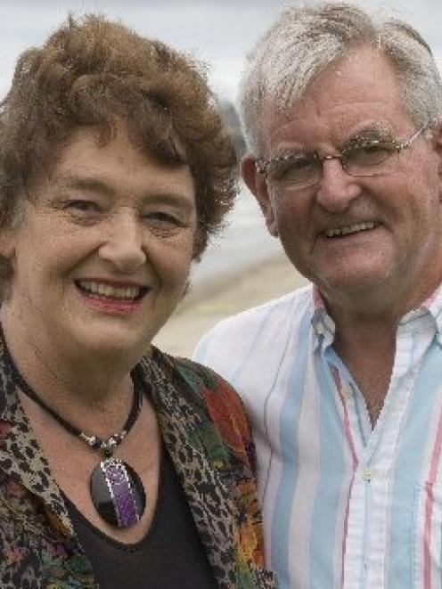 Dame Alison Holst and her husband, Peter Holst, yesterday. Photo by The New Zealand Herald.