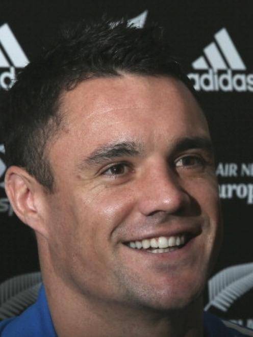 Dan Carter answers questions about impending fatherhood.  (Photo by Hannah Johnston/Getty Images)