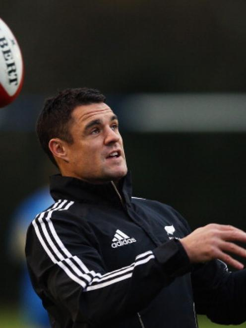 Dan Carter of the All Blacks during a training session at the University of Glamorgan training...