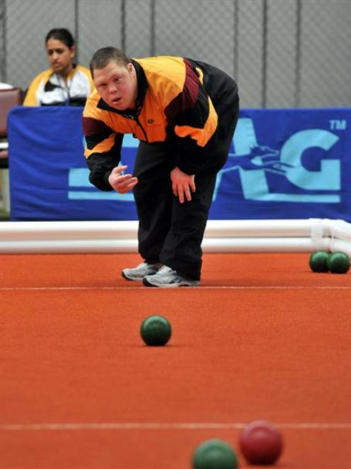 Dan Joyce attacks the jack in the bocce competition at the Edgar Centre. Photo by Gregor Richardson.