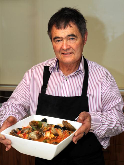 Dave Cull with his Catalan fish stew. Photo by Gregor Richardson.