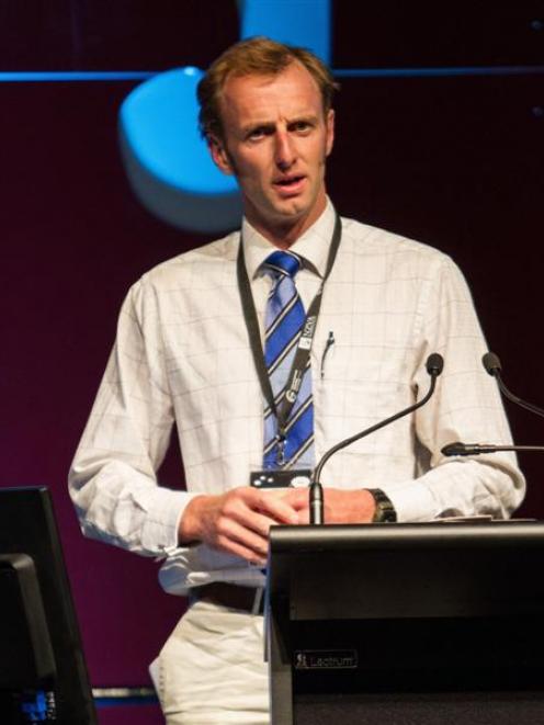 Dave Robertson presents a paper at the International Sheep Veterinary Congress in Rotorua earlier...