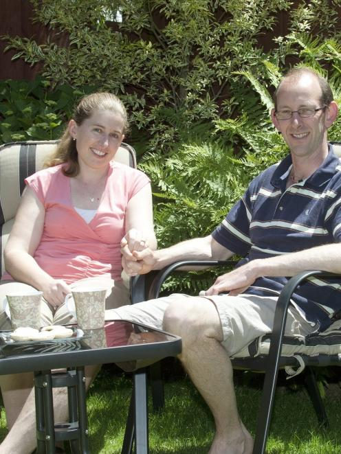 David Bain and fiancee Liz Davies relax in the garden of their Christchurch home. Photo by Herald...