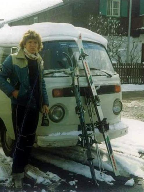 David Honeyfield on a skiing holiday with his Kombi at Kirchberg, Tyrol, Austria. The Kombi had...