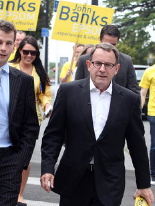 David Seymour, left, on the campaign trail with John Banks. Photo / Janna Dixon