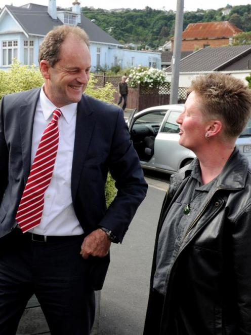 David Shearer is welcomed to the leadership meeting by Dunedin North Labour Party member Barb...
