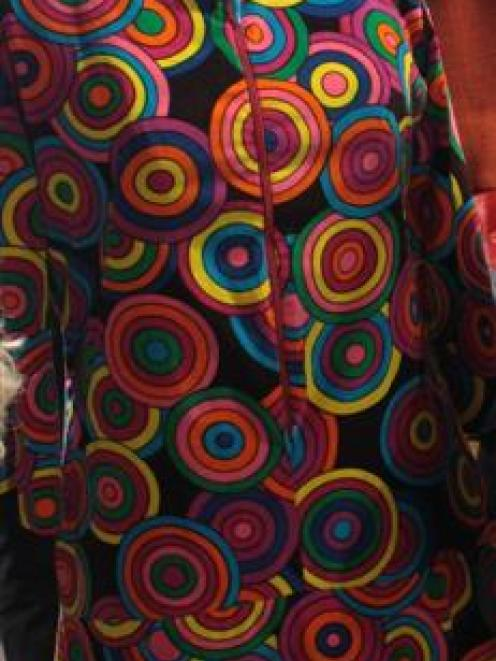 Day dress of printed cotton velveteen, circa 1969, by Raymond Dunn, loaned by his daughter...