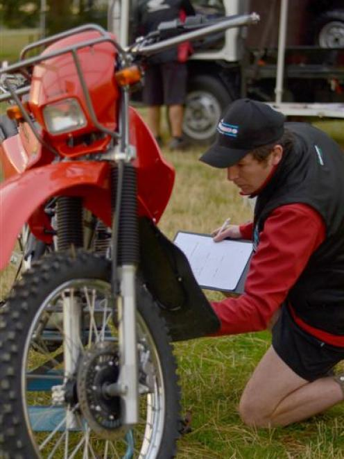 Dean Rabbidge completes a motorcycle module as part of the ANZ Young Farmer Contest Otago...