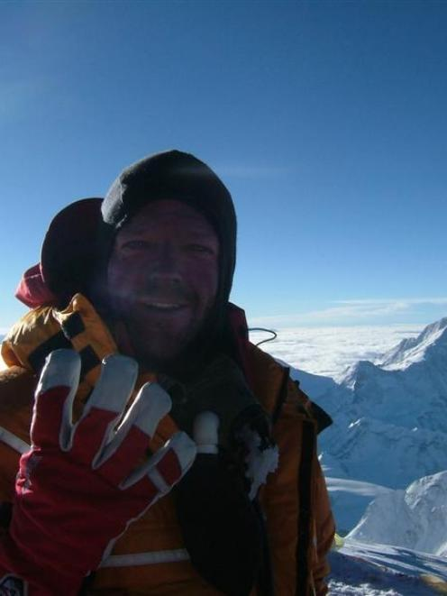 Dean Staples on the summit of Mt Everest in 2007.