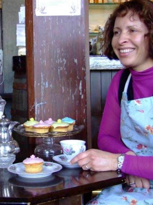 Debbie Preston enjoys high tea in the Whisky Tea Room. Photo by Sally Rae.