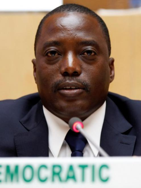 Democratic Republic Congo's President Joseph Kabila attends the signing ceremony of the Peace,...