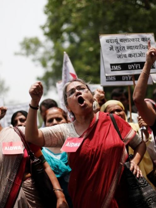 Demonstrators from All India Democratic Women's Association protest against the recent killings...