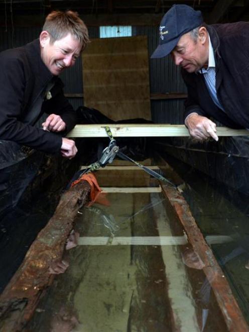 Department of Conservation historic technical adviser  Shar Briden (left) and Otakou runanga...