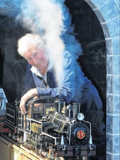 Des Burrow readies his Shay Pacific Coast replica steam train for service at the 78th annual...