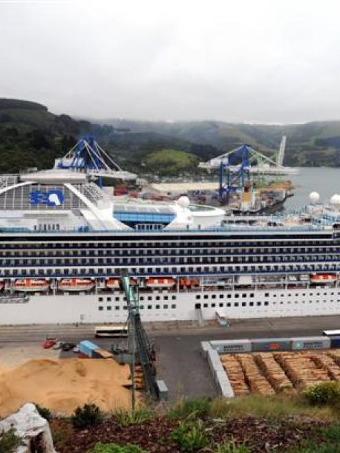 Diamond Princess and Clipper Odyssey berth at Port Chalmers and Dunedin, respectively, on...