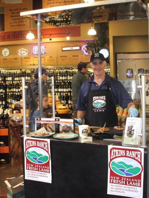 Digger McCulloch promotes New Zealand lamb in a US supermarket. Photo by Lynn McCulloch.