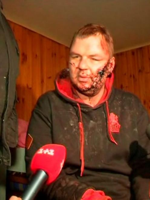 Dmytro Bulatov speaks to journalists after being found near Kiev. REUTERS/via Reuters TV