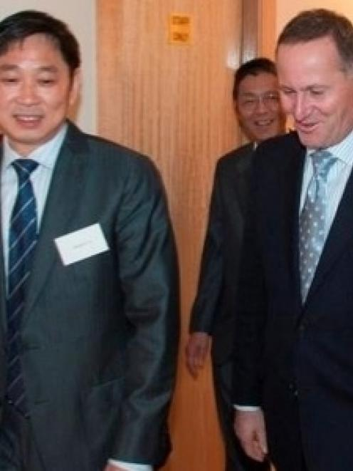 Donghua Liu with PM John Key at the opening of the $70m Newmarket project. Photo NZ Herald