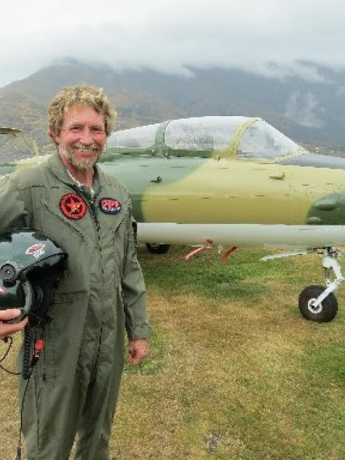 Double X Aviation co-owner and pilot Peter Meadows, of Queenstown, beside his Aero L-29 Delfin...