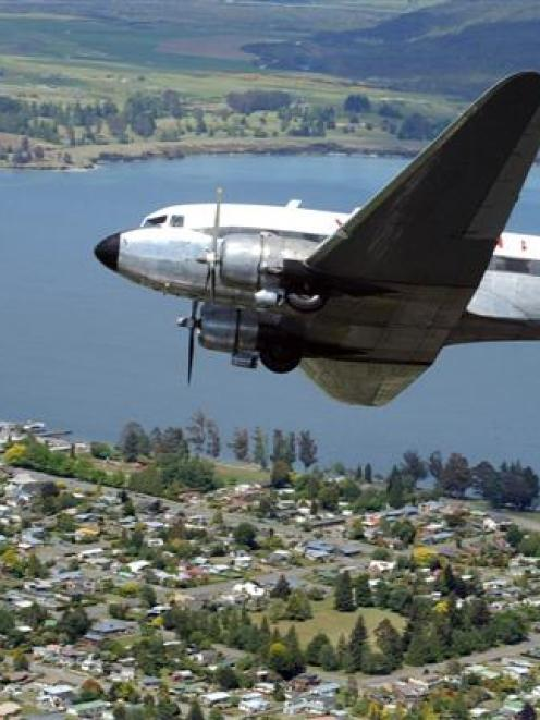 Douglas DC3 historic airliner operated by Airscapade arrives in Te Anau on Monday. Photo by...