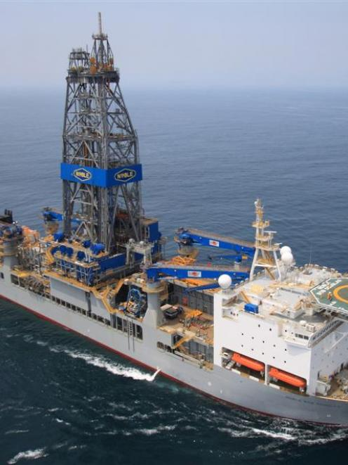 Drilling ship  Noble Bob Douglas at sea. Photo supplied.