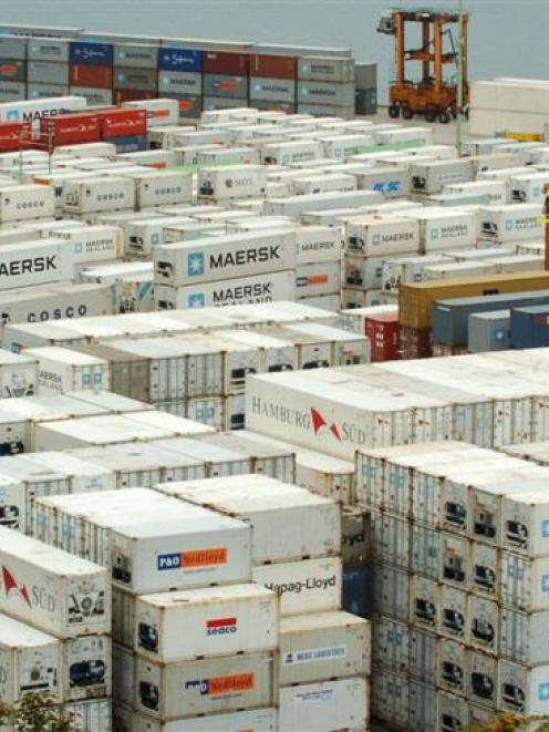 Due to a shortage of shipping space, containers are regularly being left on Port Chalmers wharves...