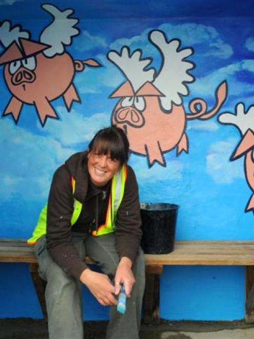 Dunedin artist Jemima Pedro reflects on the exuberant public art,  including these flying pigs,...