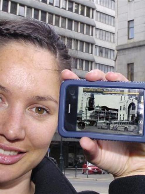 Dunedin augmented reality industry project leader Renee Lee with the smartphone application she...