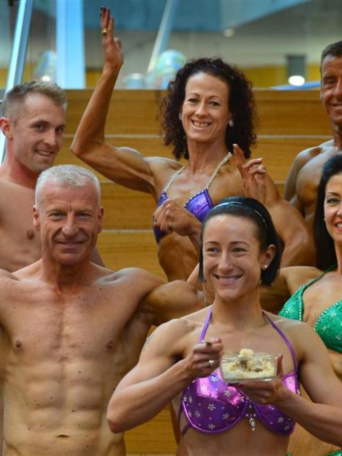 Dunedin bodybuilders (front, from left) Gregory Scott (49), Barbara Olah (35), Lisa Williams (45)...