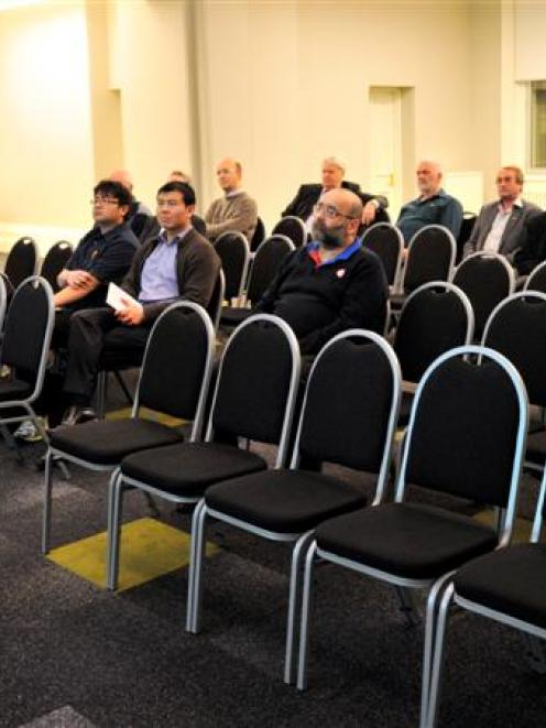 Dunedin City Council chief executive Paul Orders addresses a small group at the  electoral...