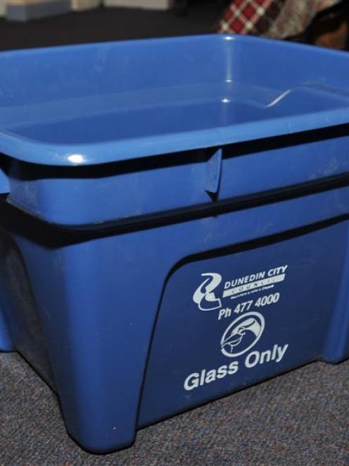 Dunedin City Council's blue recycling bins.