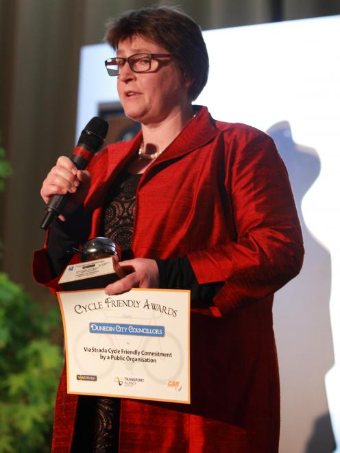 Dunedin City Councillor Kate Wilson Accepts the Cycle Friendly Award in Nelson last night. Photo:...