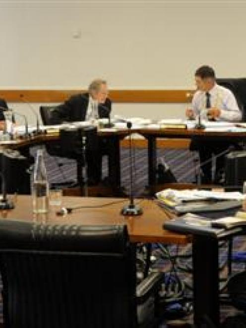Dunedin city councillors debate capital expenditure plans yesterday. Photo by Gregor Richarson.