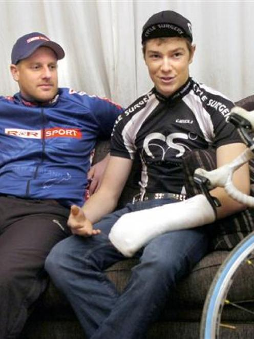 Dunedin cyclists Shane Melrose (left) and Logan Edgar recount how they were stopped and abused by...