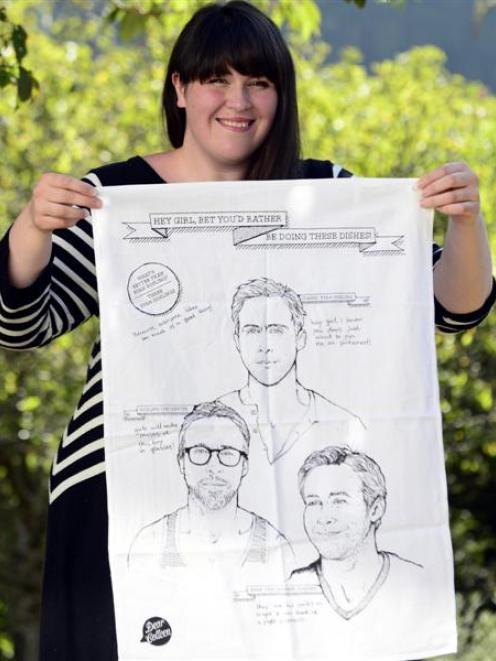 Dunedin designer Colleen Pugh with her Ryan Gosling tea-towel. Photo by Peter McIntosh.