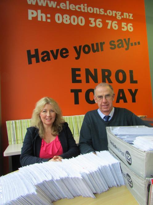 Dunedin Electoral Office enrolment assistant Sandra Reeves  and Dunedin deputy registrar of...