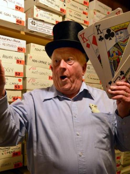 Dunedin magician David Taylor has a spell at home yesterday. Photo by Stephen Jaquiery.