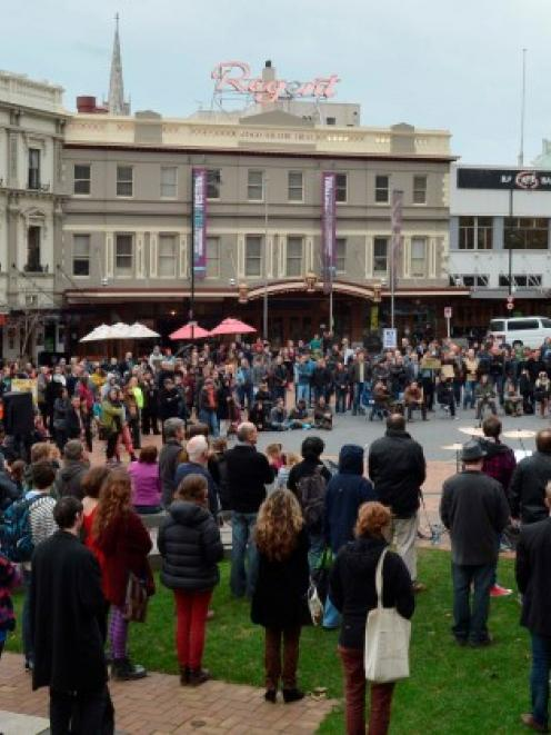 Dunedin Mayor Dave Cull addresses a protest meeting opposed to the GCSB in the Octagon this...