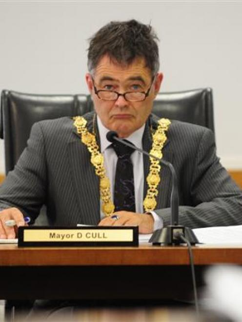 Dunedin Mayor Dave Cull at yesterday's meeting to discuss the controversial Lovelock Ave...