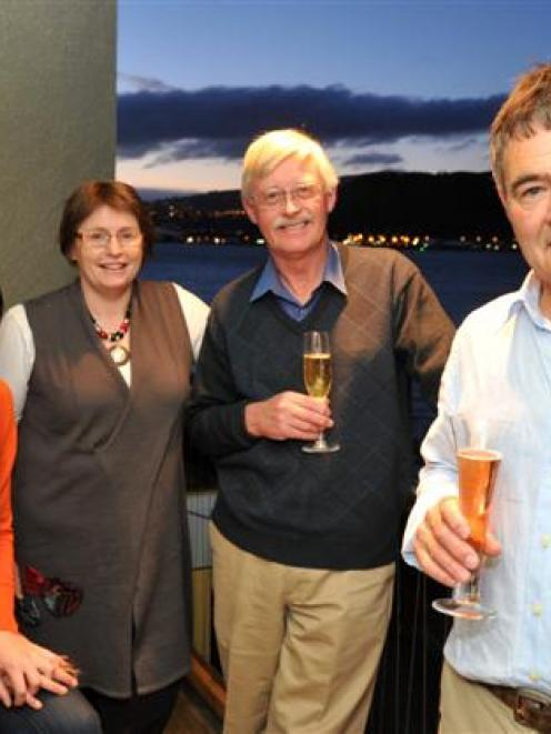 Dunedin Mayor Dave Cull celebrates his re-election with Greater Dunedin councillors (from left)...