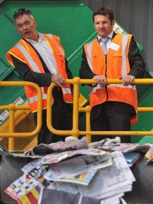 Dunedin Mayor Dave Cull (left) and Fullcircle general manager James Flexman get a close-up view...